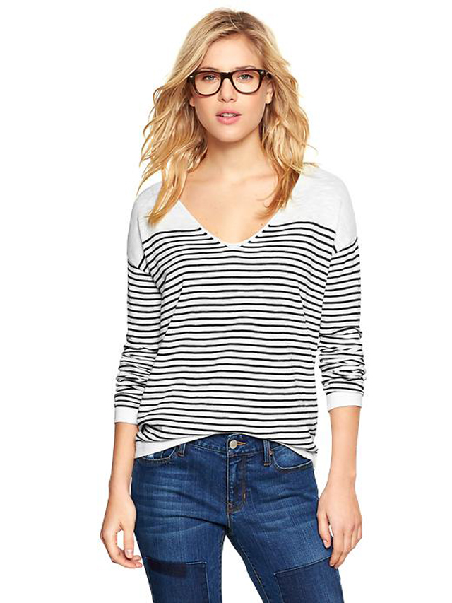 Gap Stripe V-Neck Sweater